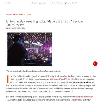 Only One Bay Area Nightclub Made the List of America's Top Grossers