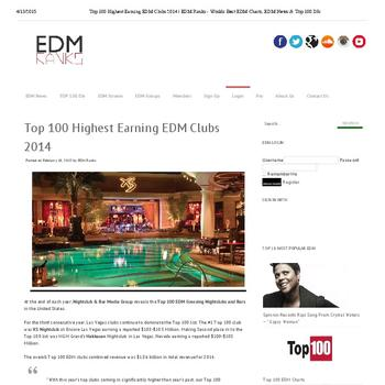 Top 100 Highest Earning EDM Clubs 2014