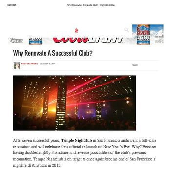Why Renovate A Successful Club?